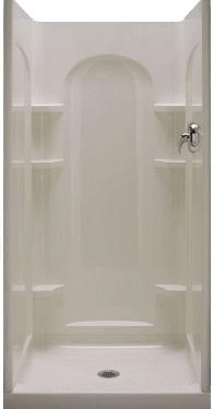 sterling kohler white ensemble series curve alcove shower back wall